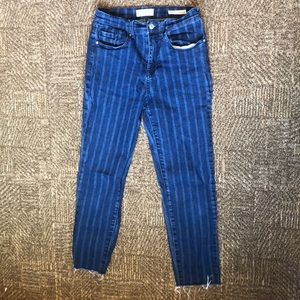 Pacsun Blue Striped Jeans with Raw Edge